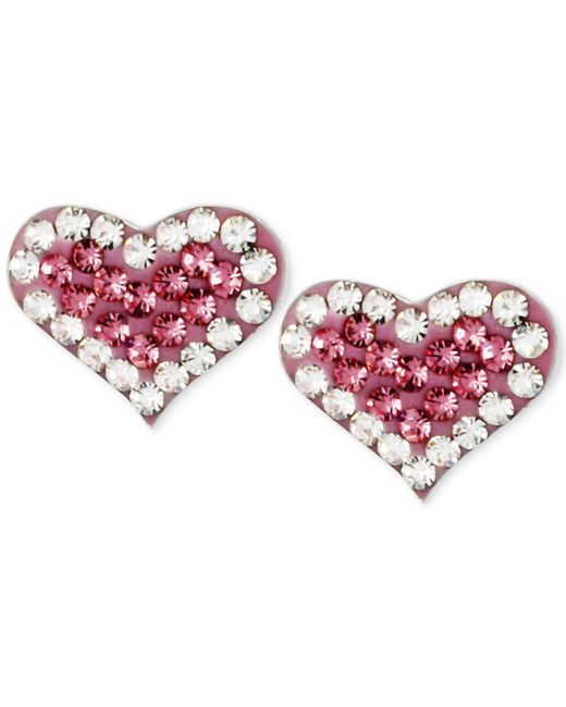 Betsey Johnson - Metallic Silver-tone Heart Pink Crystal Stud Earrings - Lyst