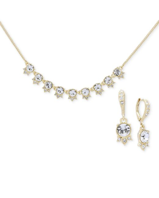 Givenchy | Metallic Crystal Collar Necklace & Drop Earrings Set | Lyst