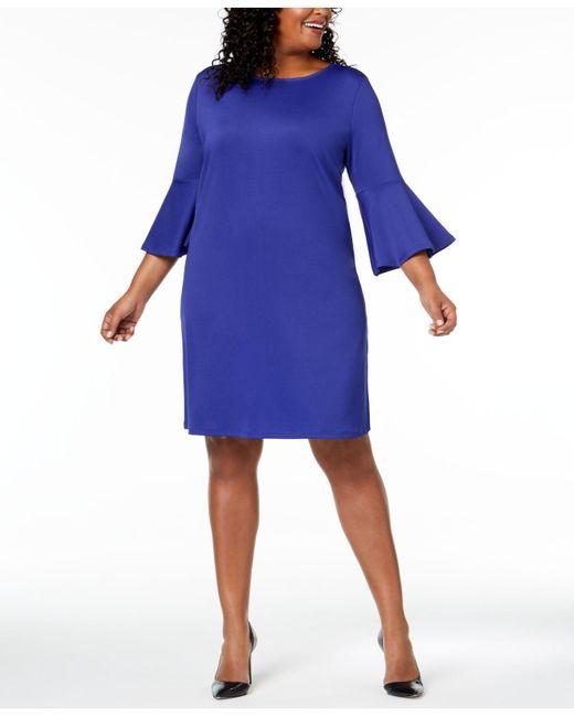 Lyst Kasper Plus Size Bell Sleeve Dress In Blue