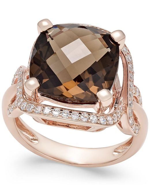 Macy's | Metallic Smoky Quartz (6-1/6 Ct. T.w.) And Diamond (3/8 Ct. T.w.) Statement Ring In 14k Rose Gold | Lyst