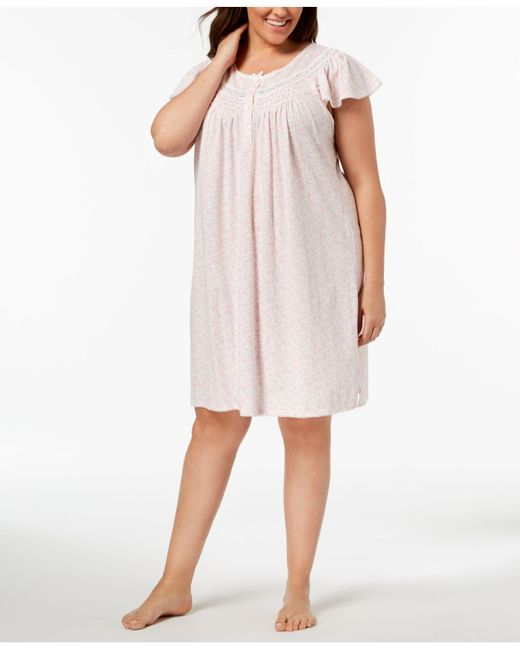 Miss Elaine - Pink Plus Size Knit Picot-trim Nightgown - Lyst