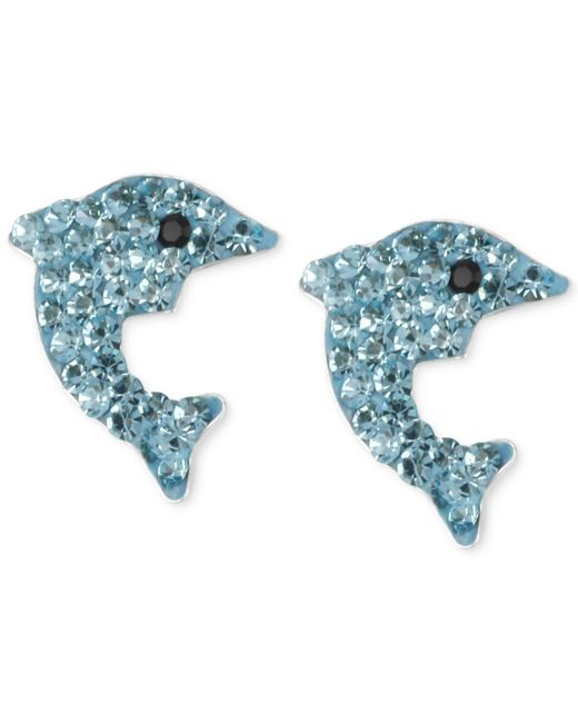 Betsey Johnson - Metallic Silver-tone Blue Pavé Dolphin Stud Earrings - Lyst