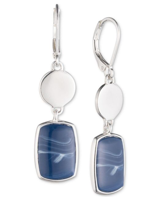 Nine West | Metallic Silver-tone Blue Stone Double Drop Earrings | Lyst