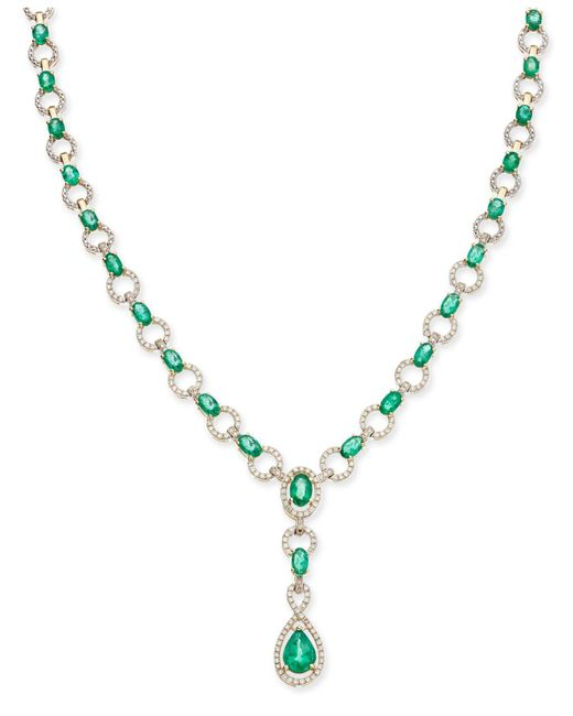 Macy's | Metallic Emerald (9 Ct. T.w.) And Diamond (1 Ct. T.w.) Fancy Collar Necklace In 14k Gold | Lyst