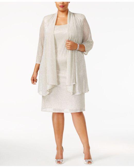 R & M Richards - Multicolor R&m Richards Plus Size Sleeveless Metallic Dress And Jacket - Lyst
