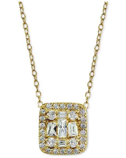 Giani Bernini | Metallic Cubic Zirconia Cluster Square Pendant Necklace | Lyst
