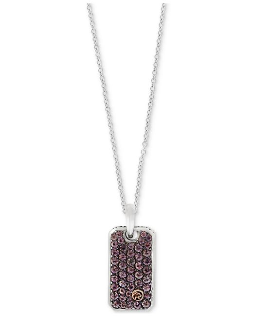 Effy Collection - Metallic Men's Brown Sapphire Dog Tag Pendant Necklace (1-1/3 Ct. T.w.) In Sterling Silver & 18k Gold - Lyst