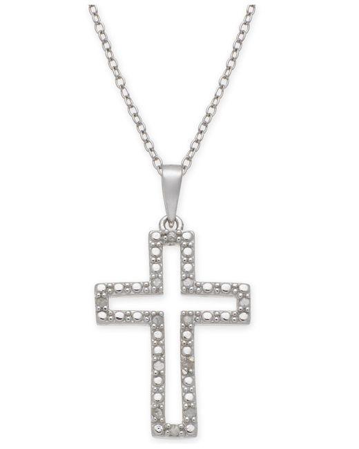 """Macy's - Metallic Diamond Cross 18"""" Pendant Necklace (1/10 Ct. T.w.) In Sterling Silver - Lyst"""