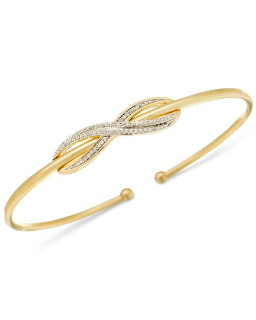 Wrapped in Love - Metallic Diamond Infinity Bangle Bracelet (1/6 Ct. T.w.) In 14k Gold-plated Sterling Silver - Lyst