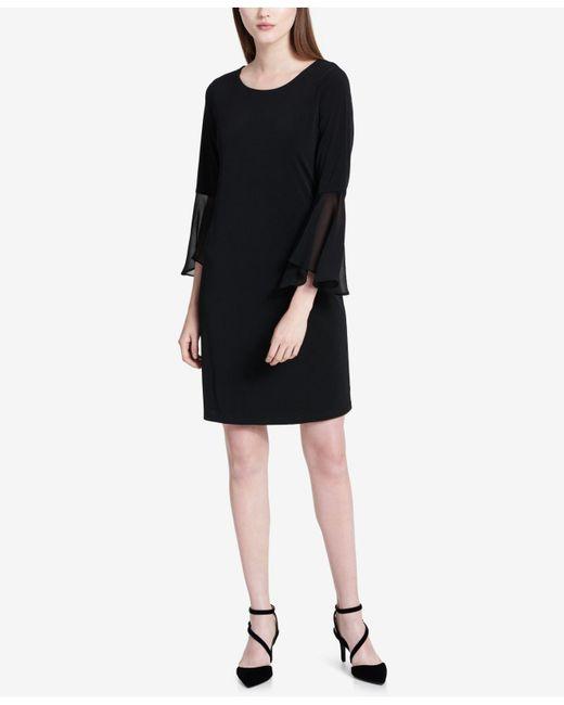 Calvin Klein | Black Bell-sleeve A-line Dress | Lyst