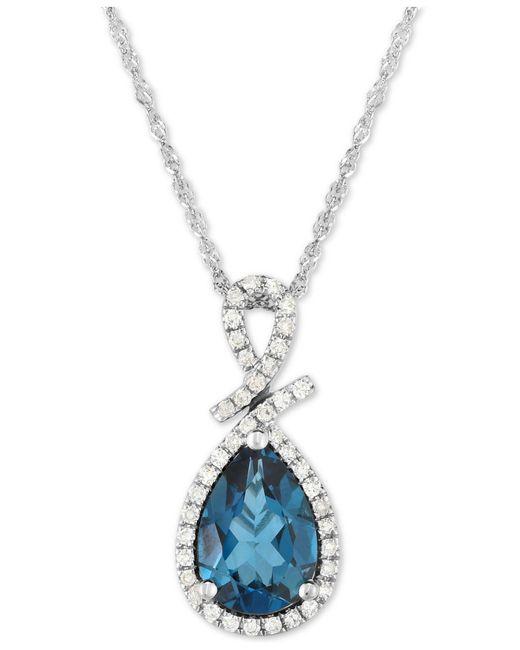 "Macy's - London Blue Topaz (2-1/5 Ct. T.w.) & Diamond (1/5 Ct. T.w.) 18"" Pendant Necklace In 14k White Gold - Lyst"