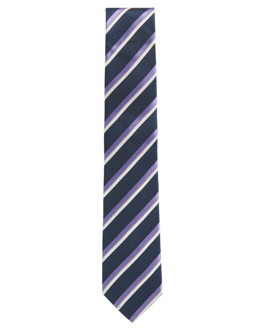 BOSS - Blue Striped Italian Silk Repp Tie for Men - Lyst