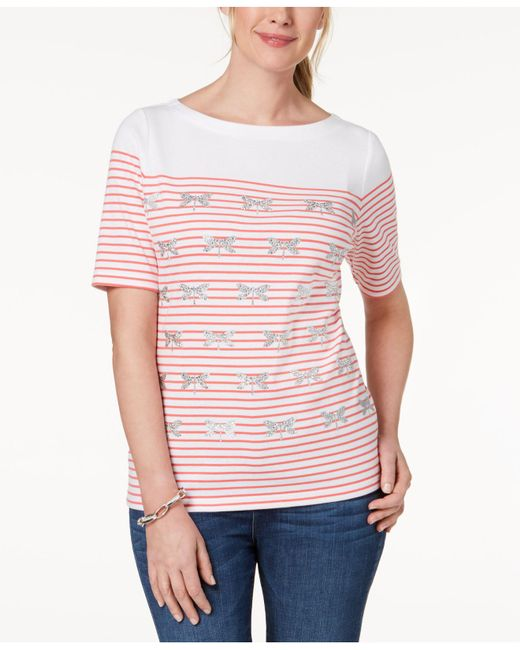 Karen Scott - Pink Embellished Striped T-shirt, Created For Macy's - Lyst