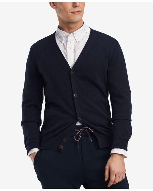 Tommy Hilfiger - Blue Signature Solid Cardigan, Created For Macy's for Men - Lyst