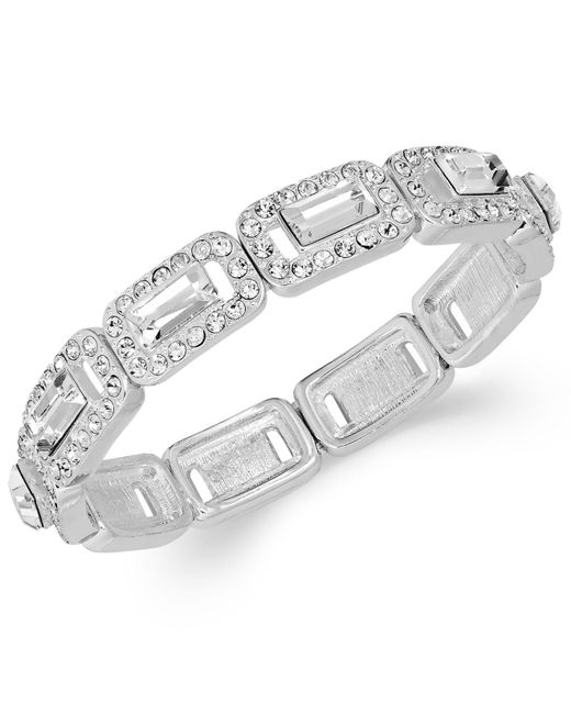 Charter Club - Metallic Silver-tone Crystal Baguette Stretch Bracelet - Lyst