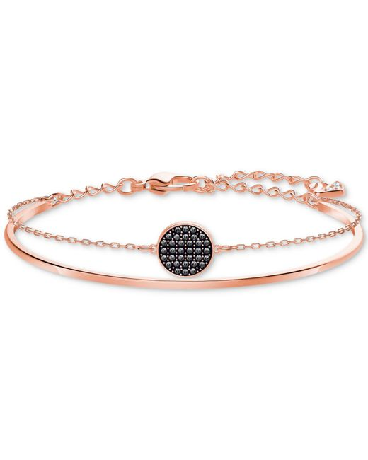 Swarovski - Metallic Rose Gold-tone Clear & Jet Crystal Disc Double-row Bangle Bracelet - Lyst