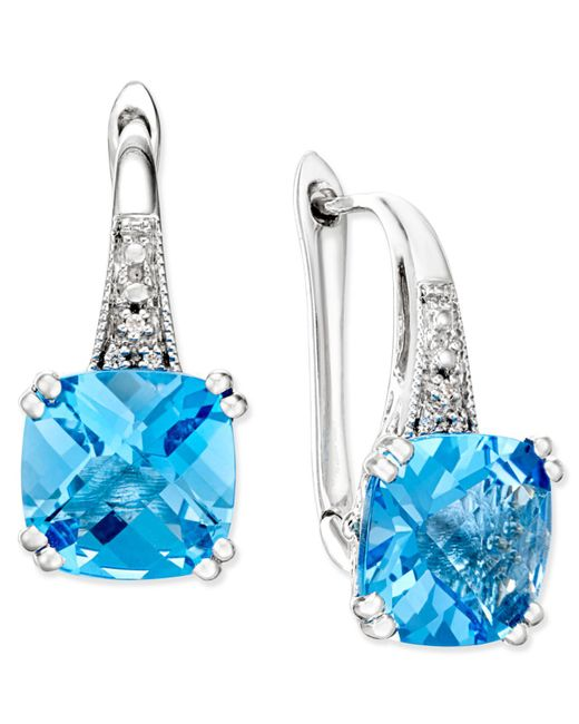 Macy's - Metallic Tanzanite (1-5/8 Ct. T.w.) And Diamond (1/8 Ct. T.w.) Square Stud Earrings In 14k White Gold - Lyst