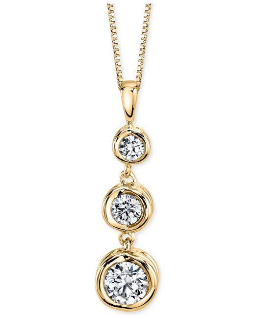 Sirena - Metallic Diamond Three-stone Pendant Necklace (1/3 Ct. T.w.) In 14k Yellow Or White Gold - Lyst