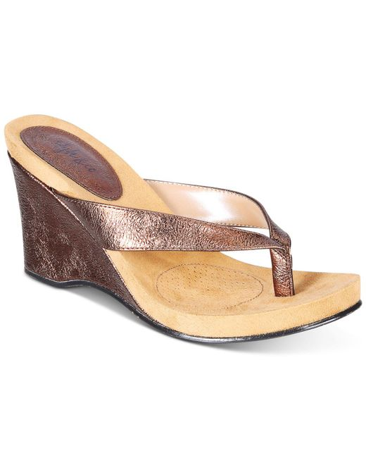 Style & Co. - Metallic Style&co. Chicklet Wedge Thong Sandals, Only At Macy's - Lyst