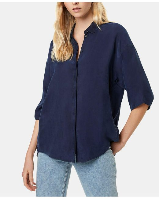 French Connection Blue Etta Oversized Button-front Shirt