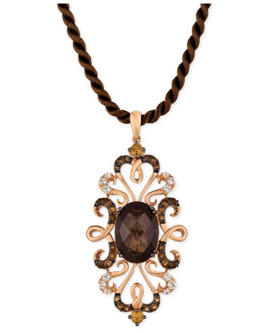 Le Vian - Brown Multi-gemstone Silk Cord Pendant Necklace (6-1/4 Ct. T.w.) In 14k Rose Gold - Lyst