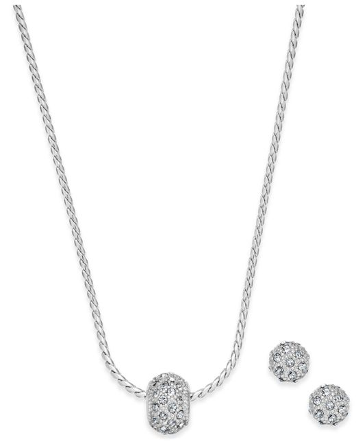 Charter Club - Metallic Silver-tone Pavé Ball Pendant Necklace And Stud Earrings Set - Lyst
