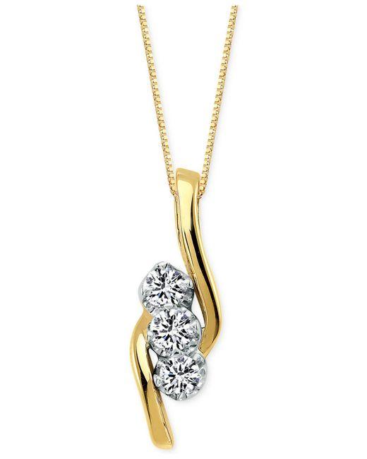 Macy's - Metallic Diamond 3-stone Pendant Necklace (3/4 Ct. T.w) In 14k Gold - Lyst