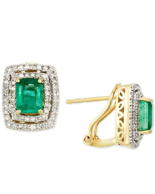 Rare Featuring Gemfields - Green Certified Emerald (1-1/2 Ct. T.w.) And Diamond (3/8 Ct. T.w.) Square Omega Clip Earrings In 14k Gold - Lyst
