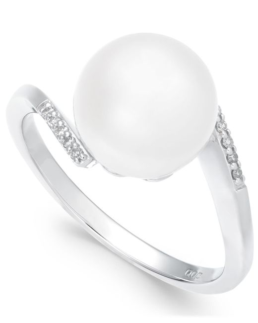 Macy's - Cultured Freshwater Pearl (10mm) & Diamond Accent Ring In 14k White Gold - Lyst