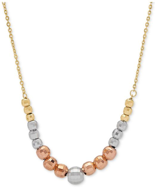 """Macy's - Metallic Tricolor Graduated Bead 18"""" Statement Necklace In 10k Gold, White Gold & Rose Gold - Lyst"""