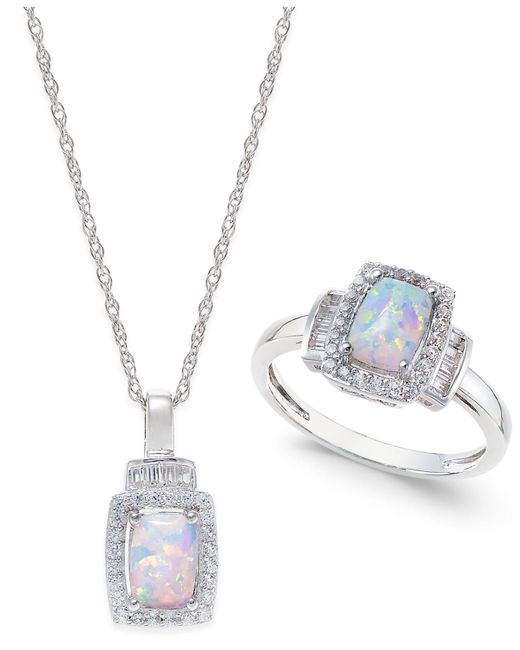 Macy's | Metallic Lab-created Opal (5/8 Ct. T.w.) And White Sapphire (5/8 Ct. T.w.) Pendant Necklace And Matching Ring Set In Sterling Silver | Lyst