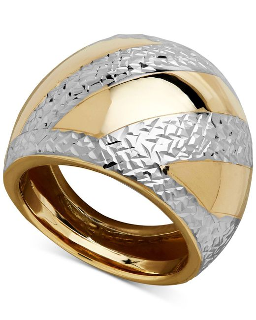 Macy's - Metallic Two-tone Dome Ring In 14k Gold & Rhodium-plate - Lyst