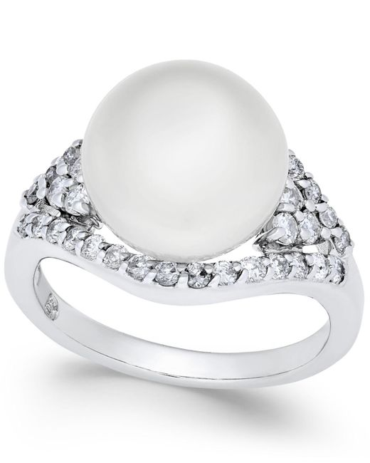 Macy's | Cultured White South Sea Pearl (11mm) And Diamond (5/8 Ct. T.w.) Ring In 14k White Gold | Lyst