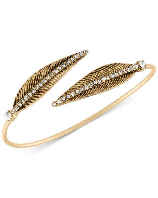 RACHEL Rachel Roy   Metallic Gold-tone Pavé Feather Bangle Bracelet   Lyst