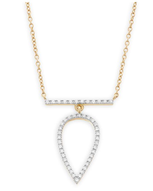 Macy's | Metallic Diamond Pear Pendant Necklace In 14k Gold (1/7 Ct. T.w.) | Lyst