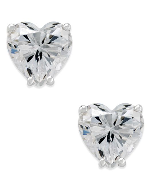 Arabella | Swarovski Zirconia Heart Stud Earrings In 14k White Gold | Lyst