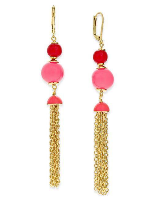 Kate Spade | Metallic That's A Wrap Gold-tone Beaded Tassel Earrings | Lyst
