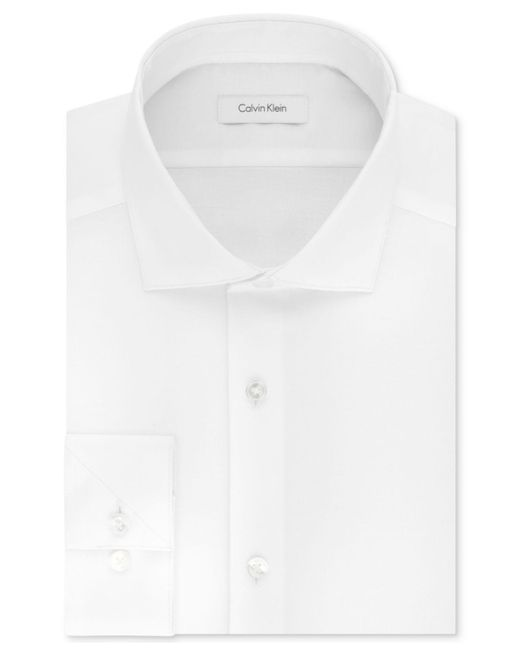 CALVIN KLEIN 205W39NYC - White Men's Steel Slim-fit Non-iron Stretch Performance Unsolid Dress Shirt for Men - Lyst