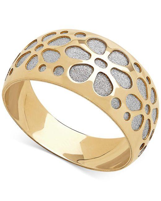 Macy's - Metallic Two-tone Flower Glitter Band In 14k Gold - Lyst