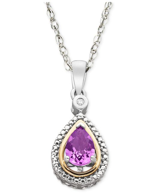 Macy's - Metallic Sterling Silver And 14k Gold Necklace, Amethyst (5/8 Ct. T.w.) And Diamond Accent Pendant - Lyst