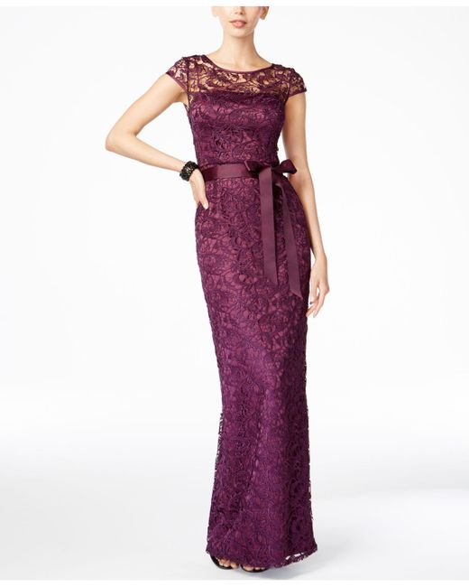 ce68fe23c2d1d Lyst - Adrianna Papell Lace Cap Sleeve Gown in Purple - Save 40%