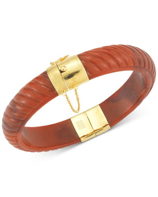 Macy's - Red Dyed Jadeite Bangle Bracelet In 14k Gold Over Sterling Silver - Lyst