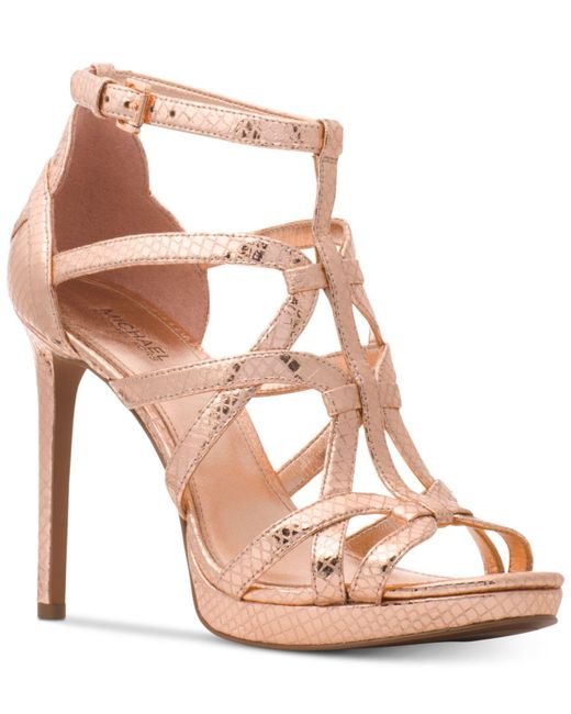 Sandra Metallic Snake Print Caged Platform Dress Sandals 5yhuVeHwgj