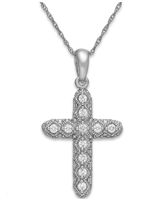 Macy's - Multicolor Diamond Cross Pendant Necklace In 14k White Gold (1/8 Ct. T.w.) - Lyst