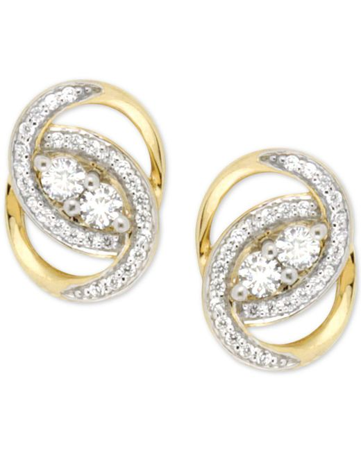 Wrapped in Love | Metallic Diamond Oval-link Earrings (1/2 Ct. T.w.) In 14k Gold | Lyst