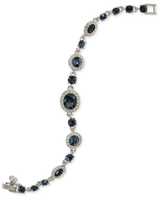 Givenchy | Blue Faceted Stone And Pavé Link Bracelet | Lyst