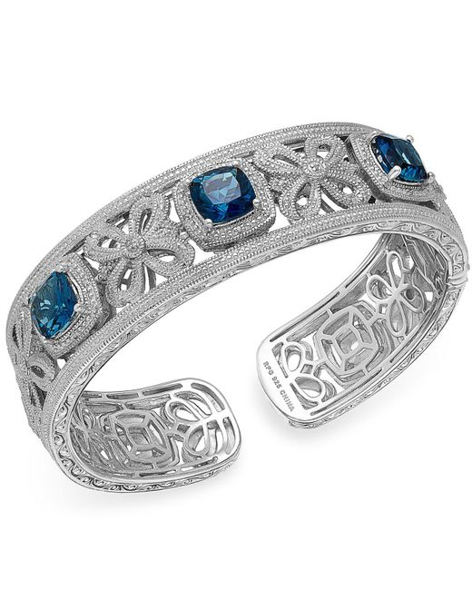 Macy's - London Blue Topaz (7-3/4 Ct. T.w.) And Diamond (1/10 Ct. T.w.) Bangle Bracelet In Sterling Silver - Lyst