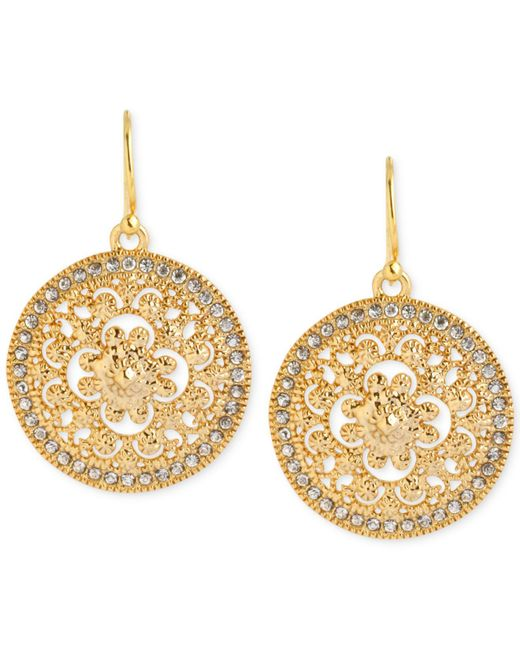 Hint Of Gold   Metallic Crystal Filigree Drop Earrings In 14k Gold-plated Brass   Lyst
