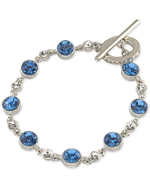 Carolee - Silver-tone Blue & Clear Crystal Toggle Bracelet - Lyst