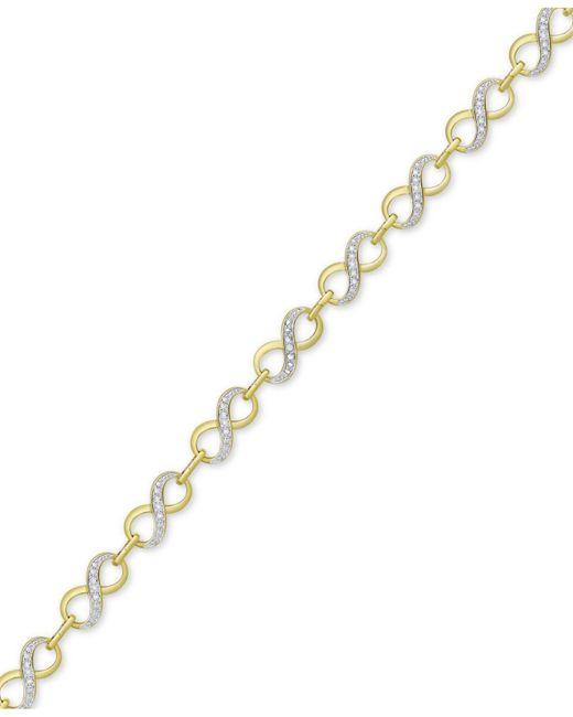 Macy's - Metallic Diamond Accent Infinity Link Bracelet In 18k Gold Over Silver-plate - Lyst
